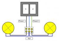 Anschluß von zwei Leuchten an Doppeltaster Ersatzteilversand - Reparatur